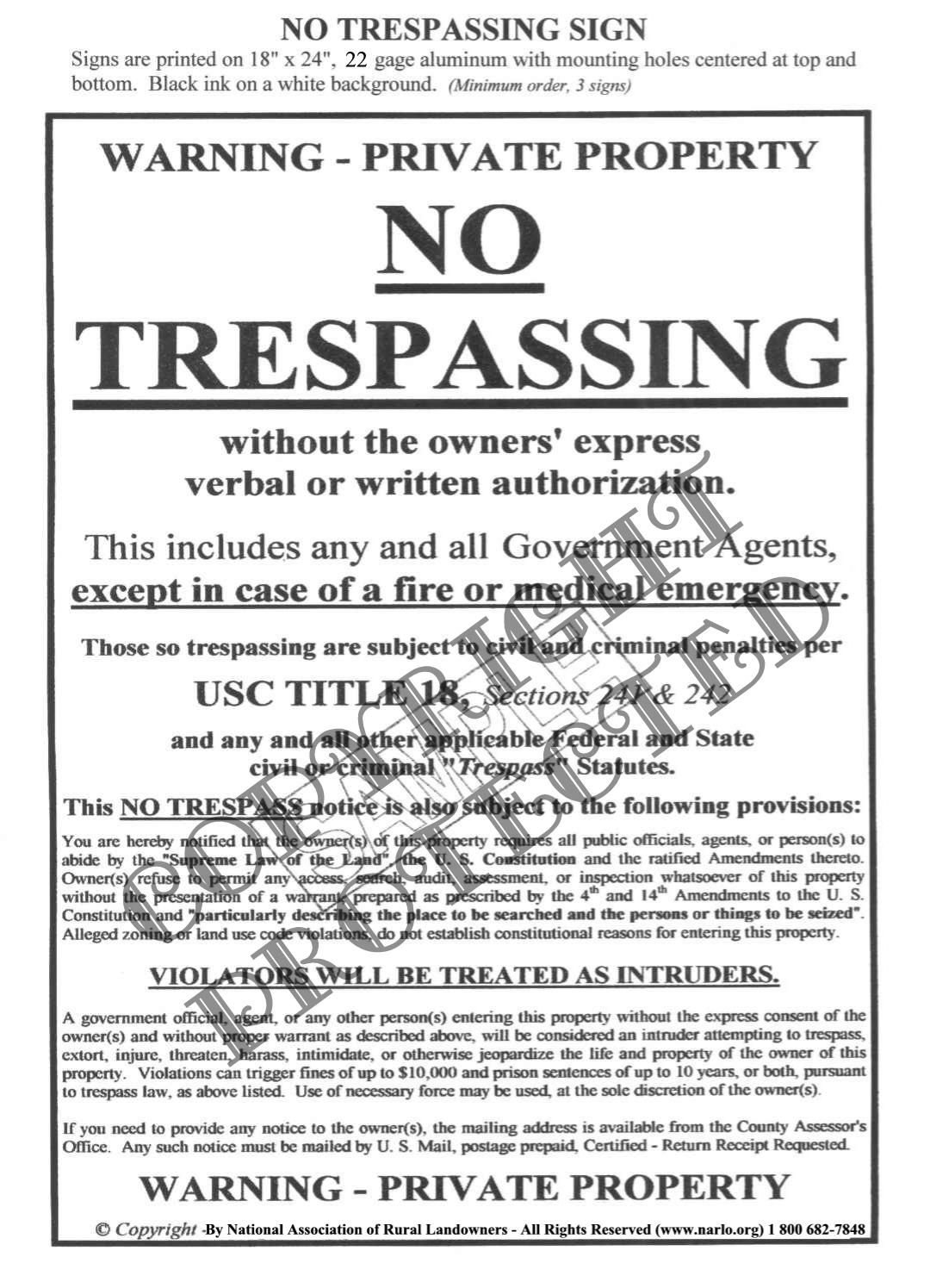The national association of rural landowners no trespassing signs the national association of rural landowners no trespassing signs trespass law what is trespassing weapons manuals gun manuals narlo offense expocarfo Images