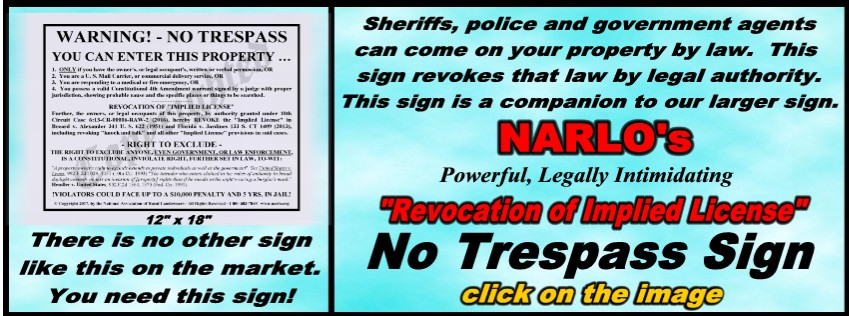 Revocation of Implied License No Trespass Sign