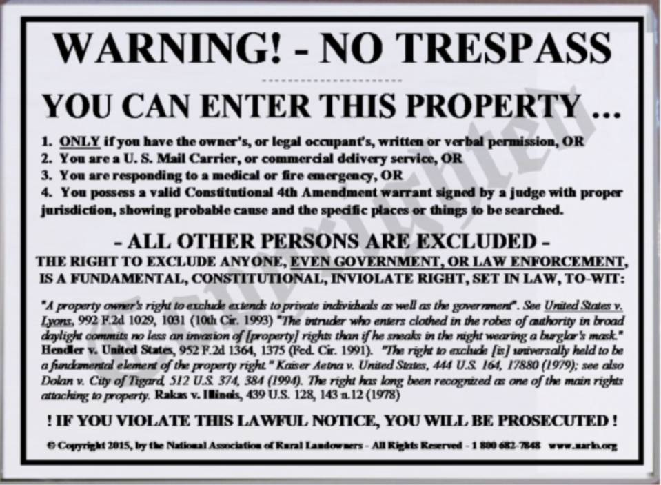 Right To Exclude No Trespass Sign