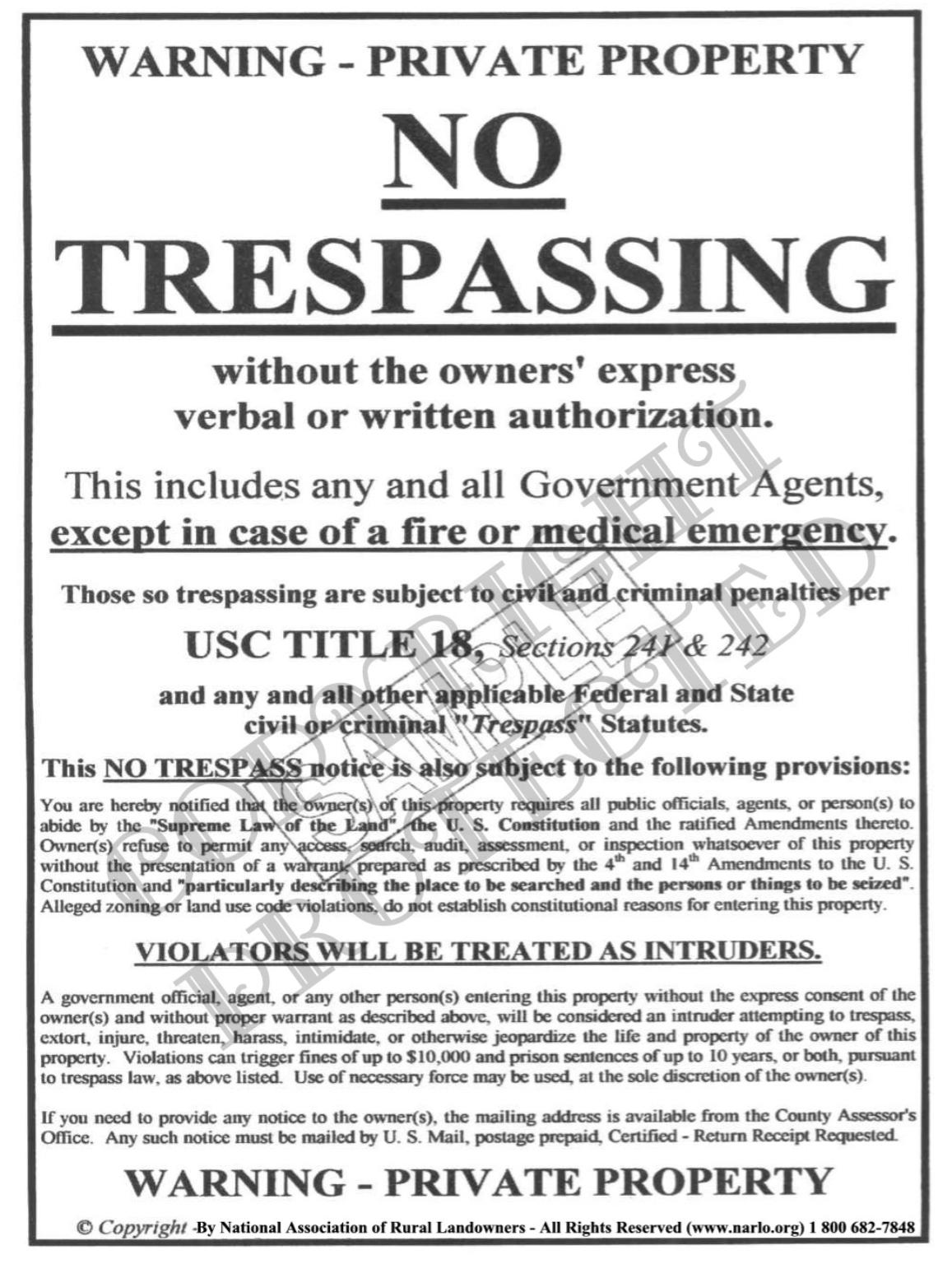 photograph about Printable No Trespassing Sign identified as The Nationwide Affiliation of Rural Landowners - No